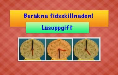 Spelet Beräkna tidsskillnaden, läsuppgift