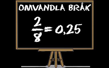 Spelet Omvandla bråk till decimaltal