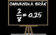 Omvandla bråk till decimaltal