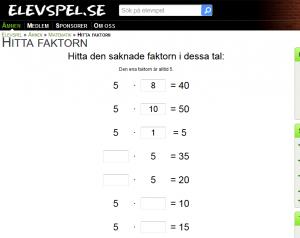 Hitta faktorn femmans tabell